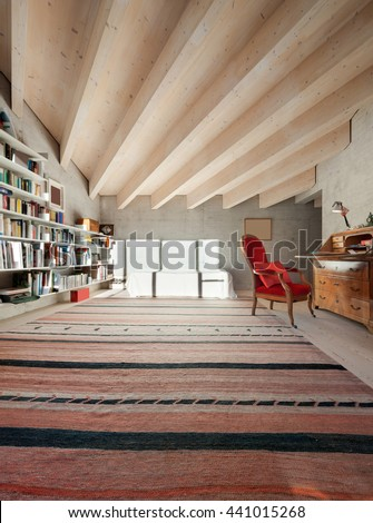 Interior of a modern loft, room with bookcase. concrete walls - stock photo