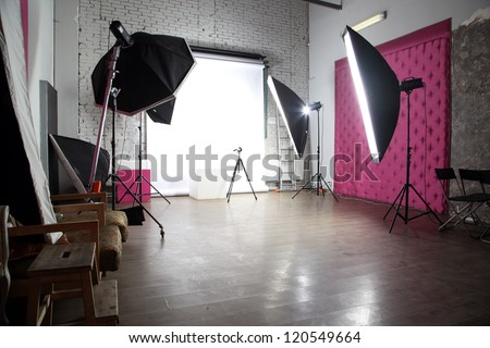 interior of a modern photo studio - stock photo