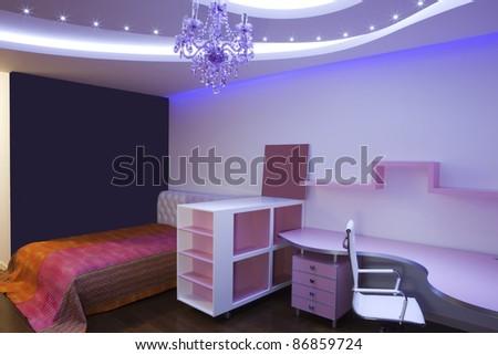 Interior of a modern purple room - stock photo