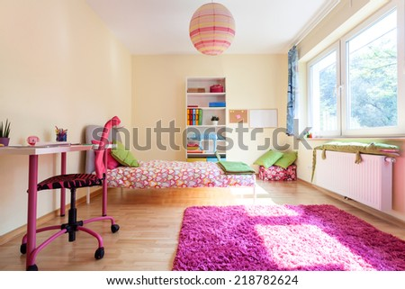 Interior of a modern room for a girl - stock photo