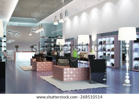 Interior of a modern store. 3d render - stock photo