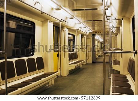 Interior of a modern subway train - stock photo