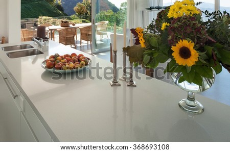 Interior of a modern villa, counter top of the kitchen  - stock photo