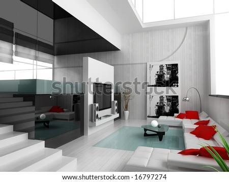 Interior of a modern white drawing tv room - stock photo