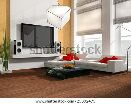 Interior of a modern white drawing tv room 3d
