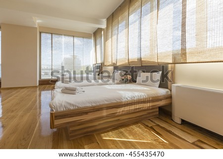 Interior of a new hotel bedroom