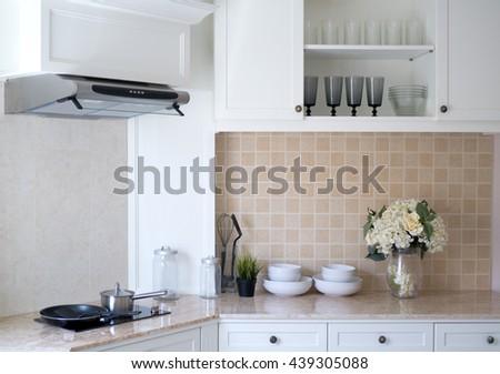 Interior of a new modern kitchen, white tone. - stock photo