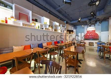 Interior Pizza Restaurant Wood Fired Oven Stock Photo 321922856 ...