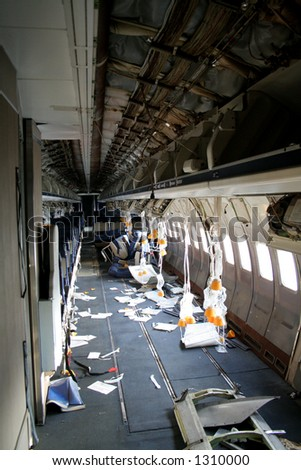 Interior of a plane that was in a accident