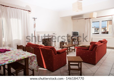 Interior of a resort vila in greece