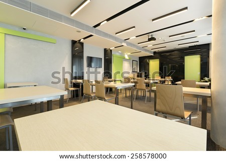 Interior of a room for seminars - stock photo