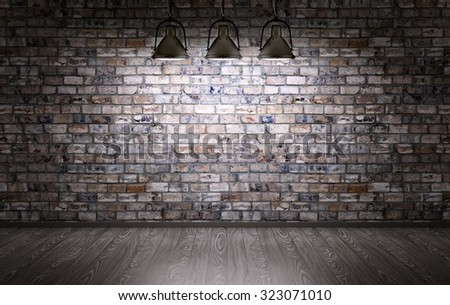 Interior of a room with brick wall and lamps - stock photo