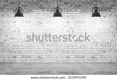 Interior of a room with brick wall, concrete floor and lamps 3d render - stock photo