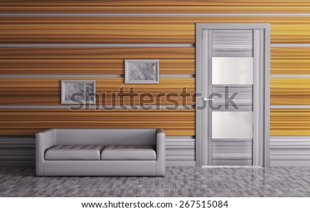 Interior of a room with door and sofa - stock photo