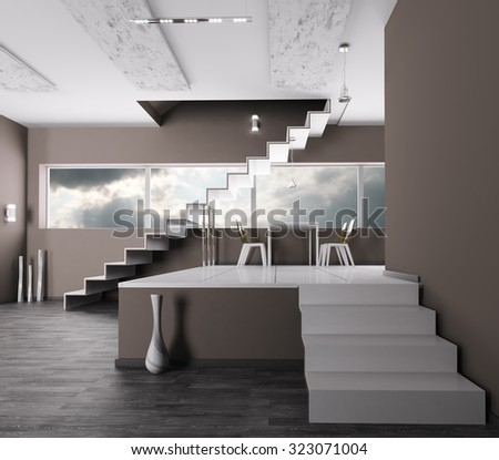 Interior of a room with staircase 3d render - stock photo