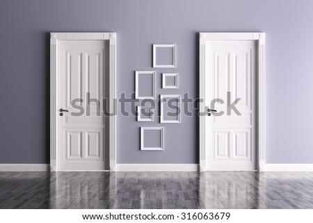 Interior Room Two Classic Doors Frames Stock Illustration 316063679