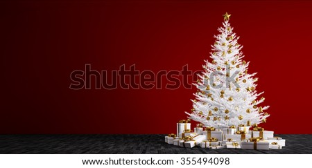 Interior of a room with white christmas tree, golden baubles and gifts over red wall 3d render - stock photo
