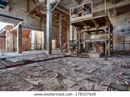 Interior of a ruined brick factory