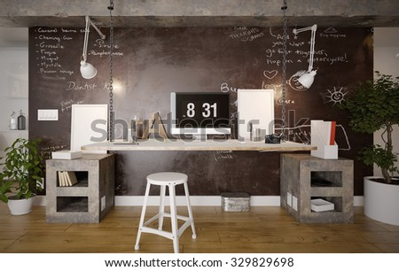 Interior of a rustic home office - 3 d render using 3 d s Max - stock photo