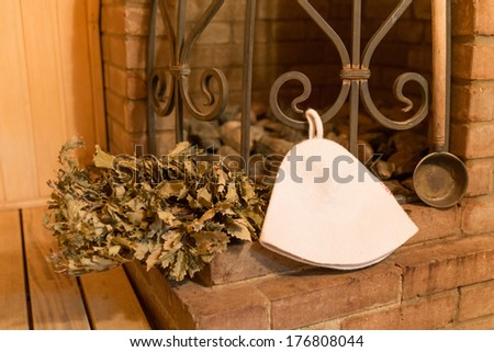 interior of a sauna with big stone oven - stock photo