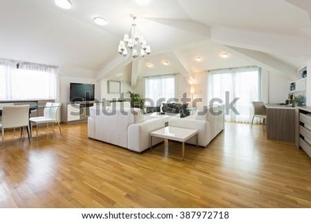 Modern Living Room Wood Floor Stock Photo 87878842 - Shutterstock