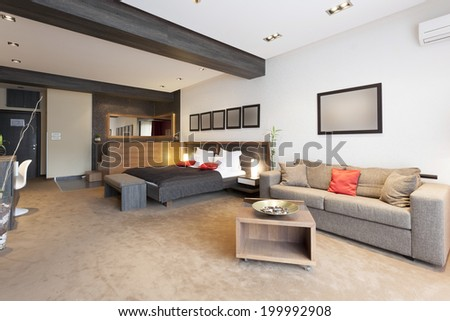 Interior of a specious living room - stock photo