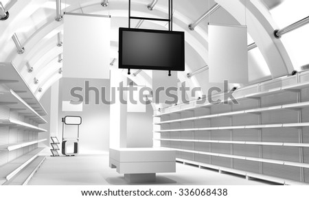 interior of a store with empty shelves. 3D rendering - stock photo