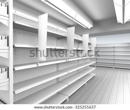 interior of a store with shelf-stopper. 3D rendering