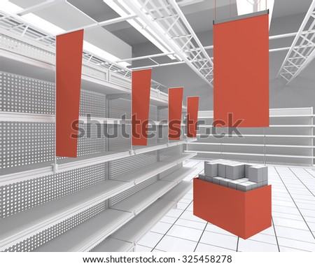interior of a store with shelf-stopper. 3D rendering - stock photo