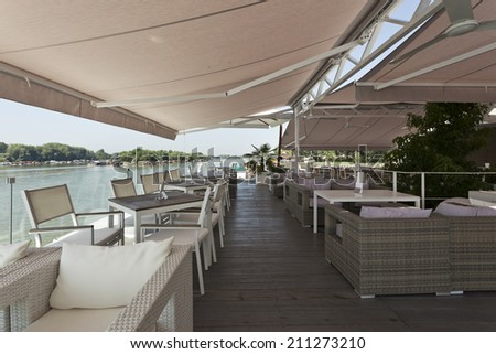 Interior of a summer terrace of a floating restaurant