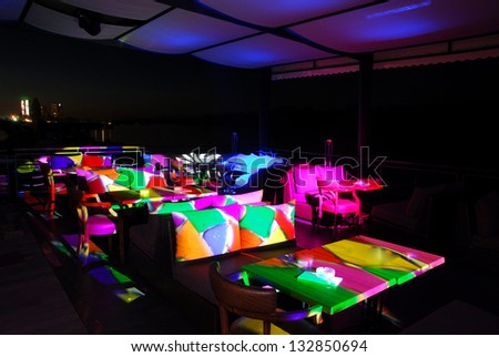 Interior of a summer terrace of nightclub - stock photo