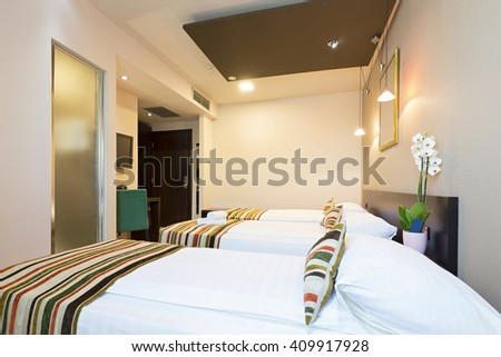 Interior Of A Three Bed Hostel Room