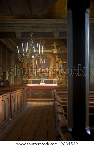 Interior of a traditional wooden church