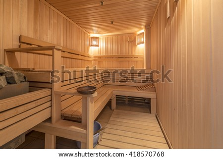 Interior of a traditional wooden sauna