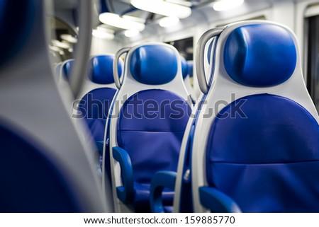 Interior of a train - stock photo