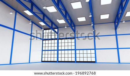 Interior of a warehouse - empty space of magazine with blue colour construction - 3d render illustration image
