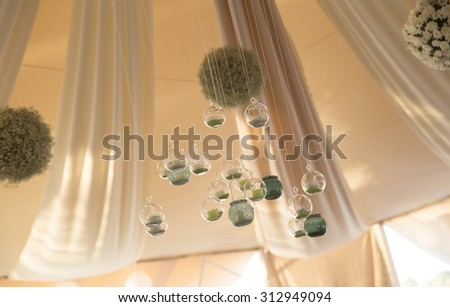 Interior of a wedding tent decoration - stock photo