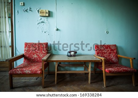 interior of abandoned buildings from the time of the Soviet Union - stock photo