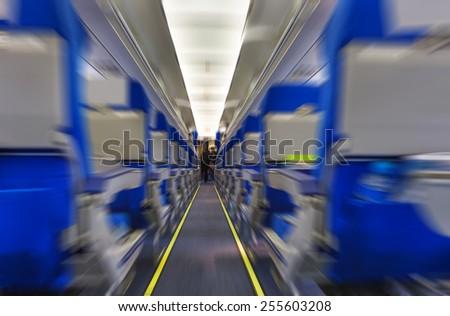 Interior of airplane - stock photo