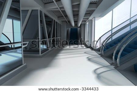 interior of airport. 3d render - stock photo