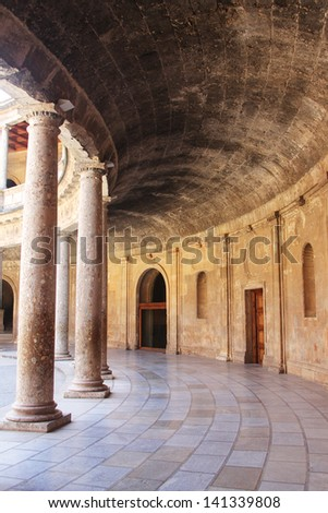 Interior of Alhambra palace with columns