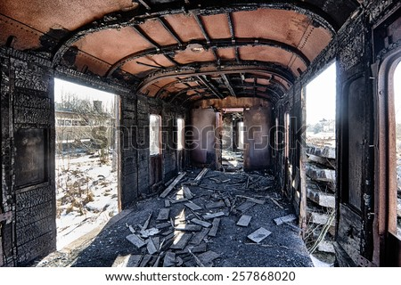 Interior of an abandoned railway wagon - stock photo