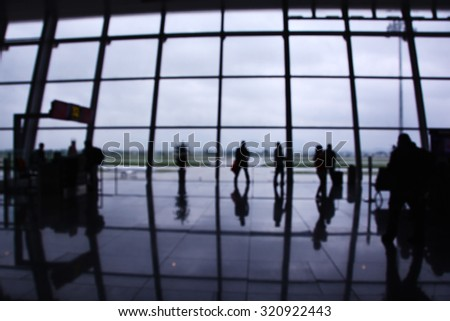 Interior of an Airport Terminal Waiting Area, Blurred concept