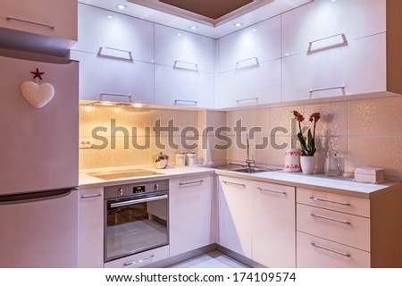 Interior of an apartment, view on kitchen part, modern design.