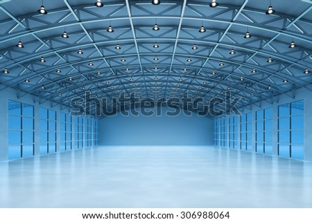 Interior of an empty warehouse building, modern storehouse office in blue light - stock photo