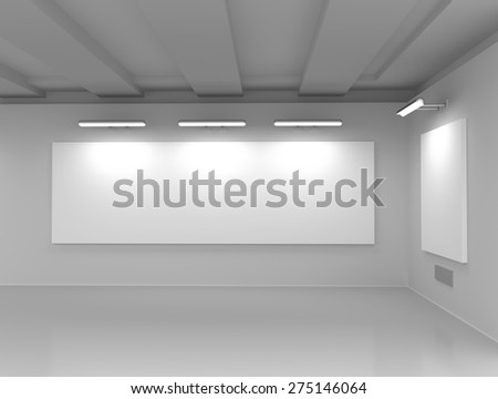 Interior of an exhibition hall with empty billboards - stock photo