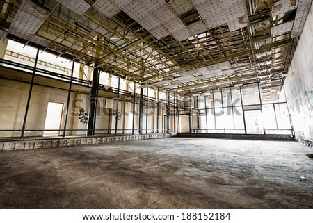 interior of an old abandoned factory building