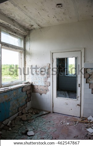 interior of an old abandoned soviet hospital in military town of  skrunda, latvia