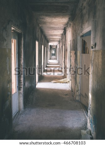 interior of an old abandoned soviet hospital in military town of  skrunda, latvia - vintage film effect