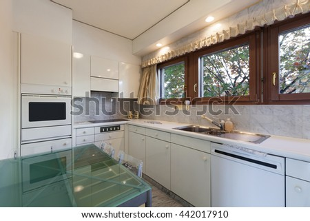 Interior of an old apartment, domestic kitchen - stock photo